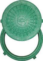 """Люк пластиковый до 1,5т., тип """"ЛТ"""", зеленый, легкий, садовый"""