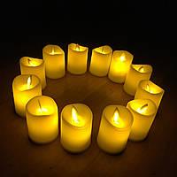 Электронные светодиодные свечи 5х6,5см, набор 12шт. эффект настоящего пламени с батарейкой