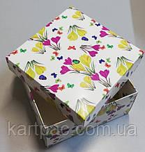 """Подарочная картонная коробка """"Цветы"""" 195*195*97"""