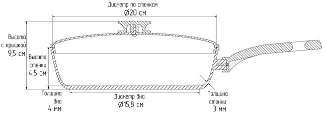 Сковорода Биол антипригарная с стеклянной крышкой Оптима-Гранит 20 см