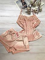 Женская велюровая пижама шорты и майка