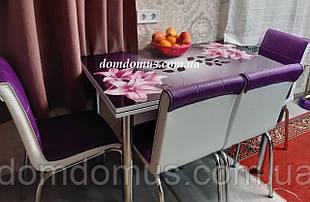 """Комплект кухонной мебели """"Fusya Orkide """" (стол ДСП, каленное стекло + 4 стула) Mobilgen, Турция"""