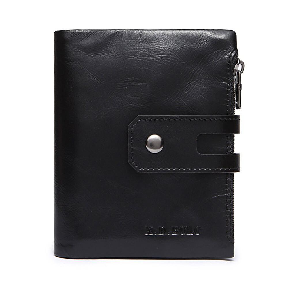 Гаманець шкіряний чоловічий. Портмоне гаманець з натуральної шкіри (чорний)