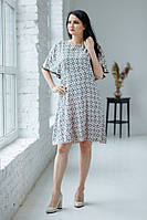 Легка літня світло-сіра шифонова сукня з дрібним квітковим принтом №516-2