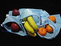 Набор из 3-х многоразовых мешочков для продуктов голубой
