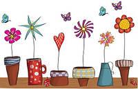 Интерьерная наклейка на стену Doodle Flowers (mAY947)