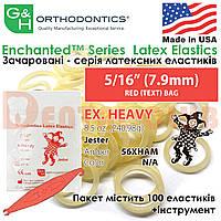 """Еластичні кільця латексні (міжщелепні тяги) G&H- Enchanted Latex Elastics""""Чарівна лісова тема"""" ex. heavy (екстра тяжкий натяг) - 8.5 oz. (240,98g), 5/16"""" (7.9mm) RED (TEXT) BAG, фото 1"""