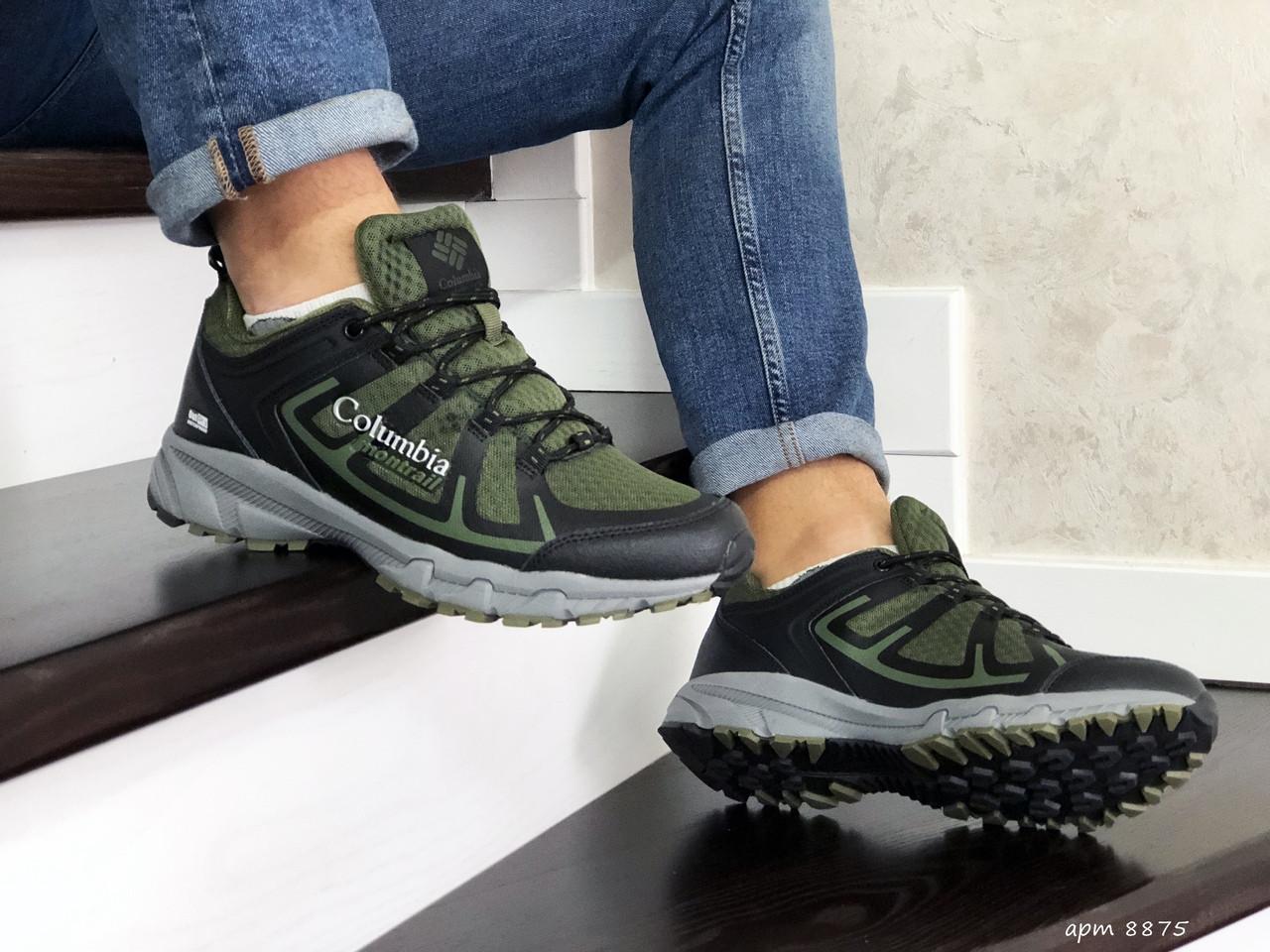 Мужские кроссовки прессованная кожа сетка темно зеленые