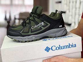 Мужские кроссовки прессованная кожа сетка темно зеленые, фото 2