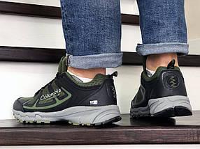 Мужские кроссовки прессованная кожа сетка темно зеленые, фото 3