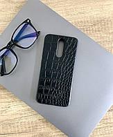 Чехол для Xiaomi Redmi 8 под кожу крокодила, Black