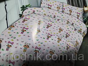 Детское полуторное постельное белье (белое) - Кукла Лол маленькая