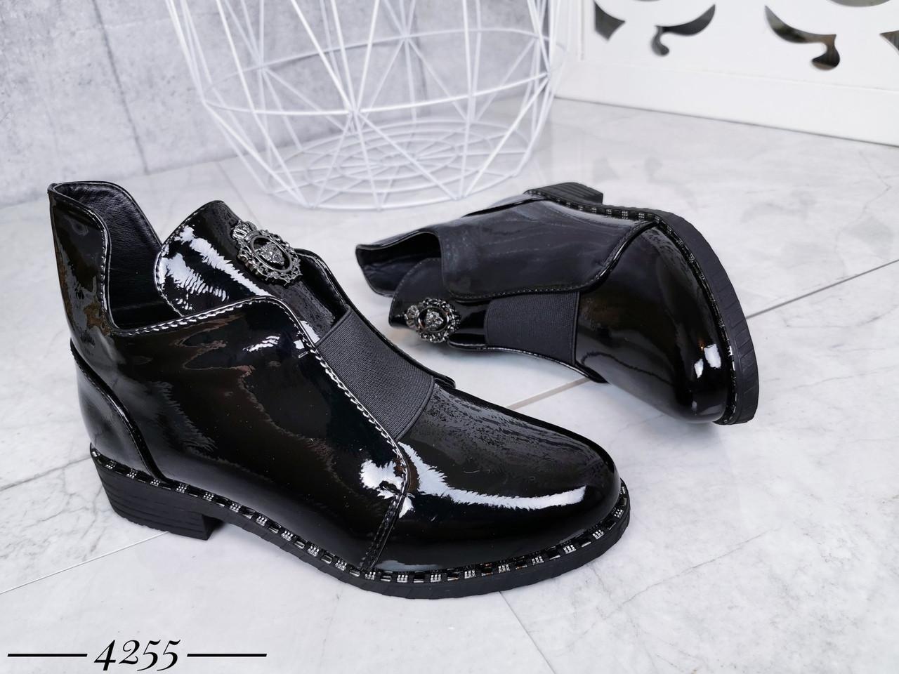 Демисезонные женские ботинки черного цвета, эко кожа лак 41 ПОСЛЕДНИЕ РАЗМЕРЫ