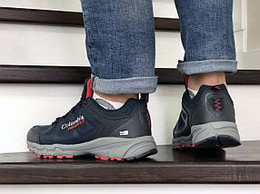 Чоловічі кросівки пресована шкіра сітка темно синие8878, фото 3