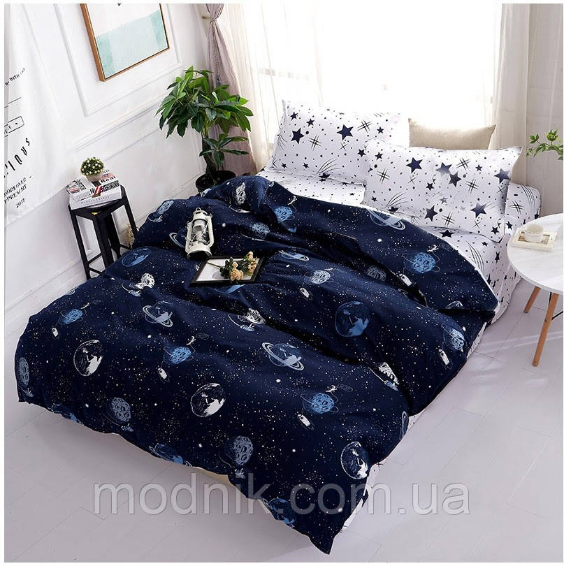 Полуторное постельное белье (темно-синее) - Сатурн