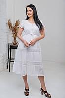 Легка літня біла батистова сукня міді з завищеною талією оздоблена мереживом №3027