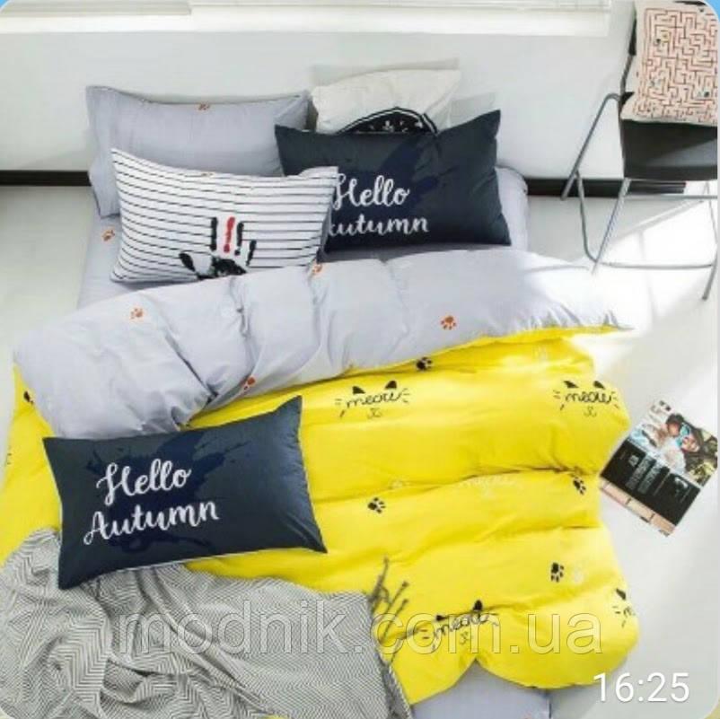Полуторное постельное белье (бело-желтое) - Привет, осень