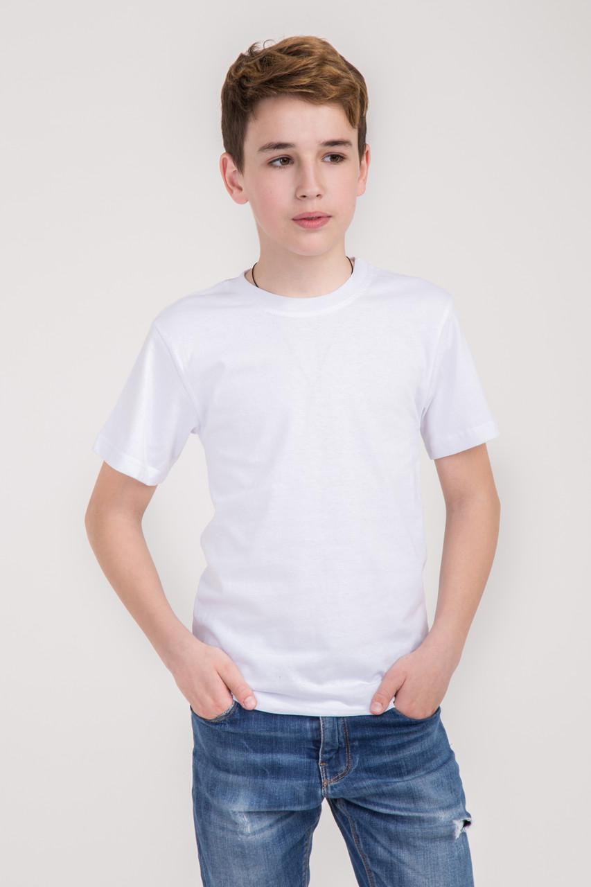 Дитяча однотонна футболка вільного крою (біла)