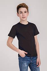 Дитяча однотонна футболка вільного крою (чорна)