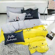 Евро комплект постельного белья (бело-желто) - Привет, осень