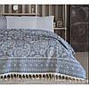 Покрывало хлопковое махровое c бахрамой 240*250 ТМ Irya Evonne blue
