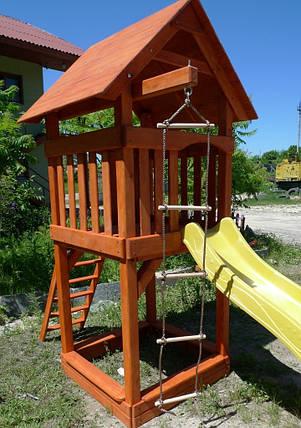Дитячий ігровий комплекс Будиночок з гіркою + пісочниця, фото 2