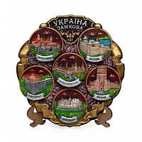 Декоративная тарелка из керамики Замки Украины