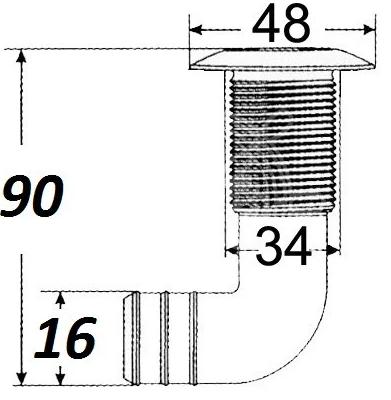 Сливной штуцер для лодки, катера, судна с нержавеющим колпачком, согнутый, диаметр 5/8, фото 2