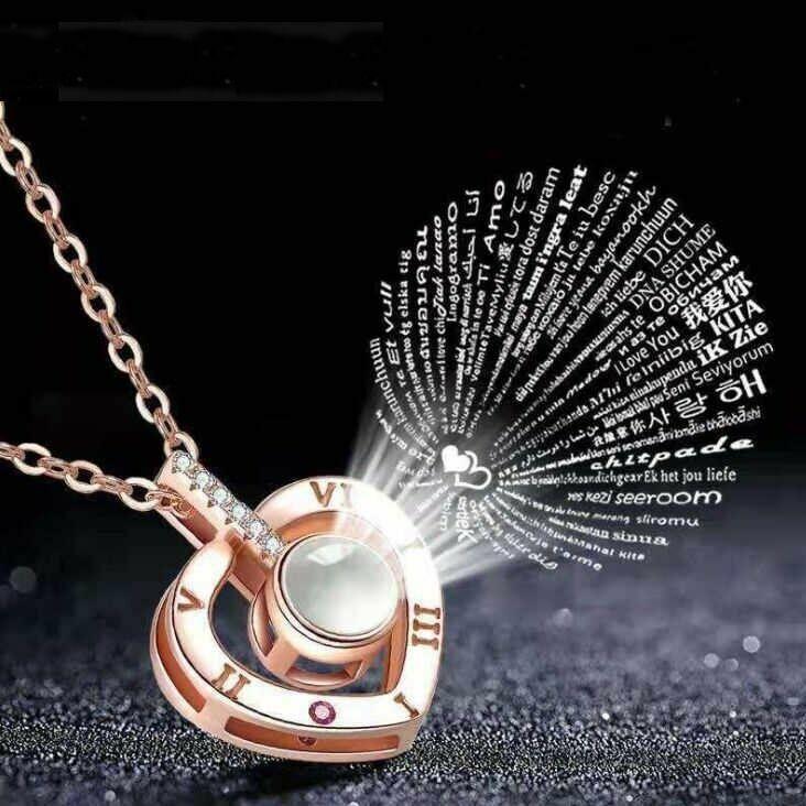 Купить Подарок девушке Подарок жене Кулон Сердечко с проекцией Я тебя люблю на 100 языках мира, City-a