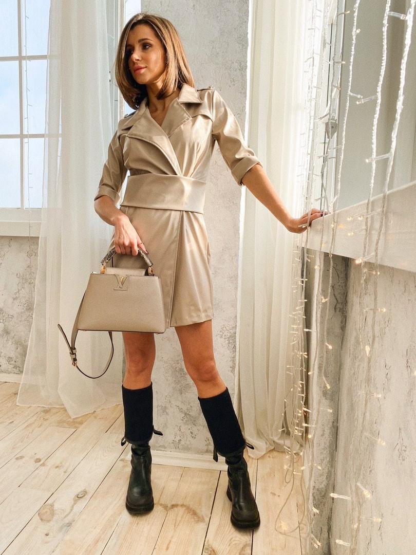 """Платье «Скин» со сьемным поясом, ткань: стрейч эко.кожа. Размер:42-44. Разные цвета (1744 """"дольче"""")"""