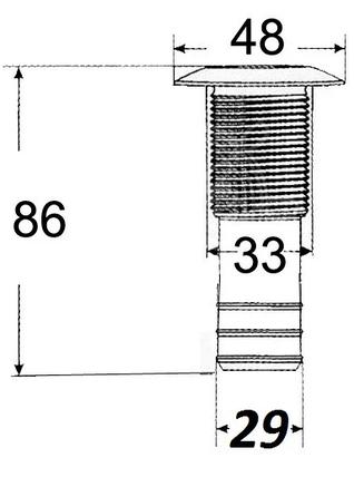 Сливной штуцер для лодки, катера, судна с нержавеющим колпачком, диаметр 1-1/8, фото 2