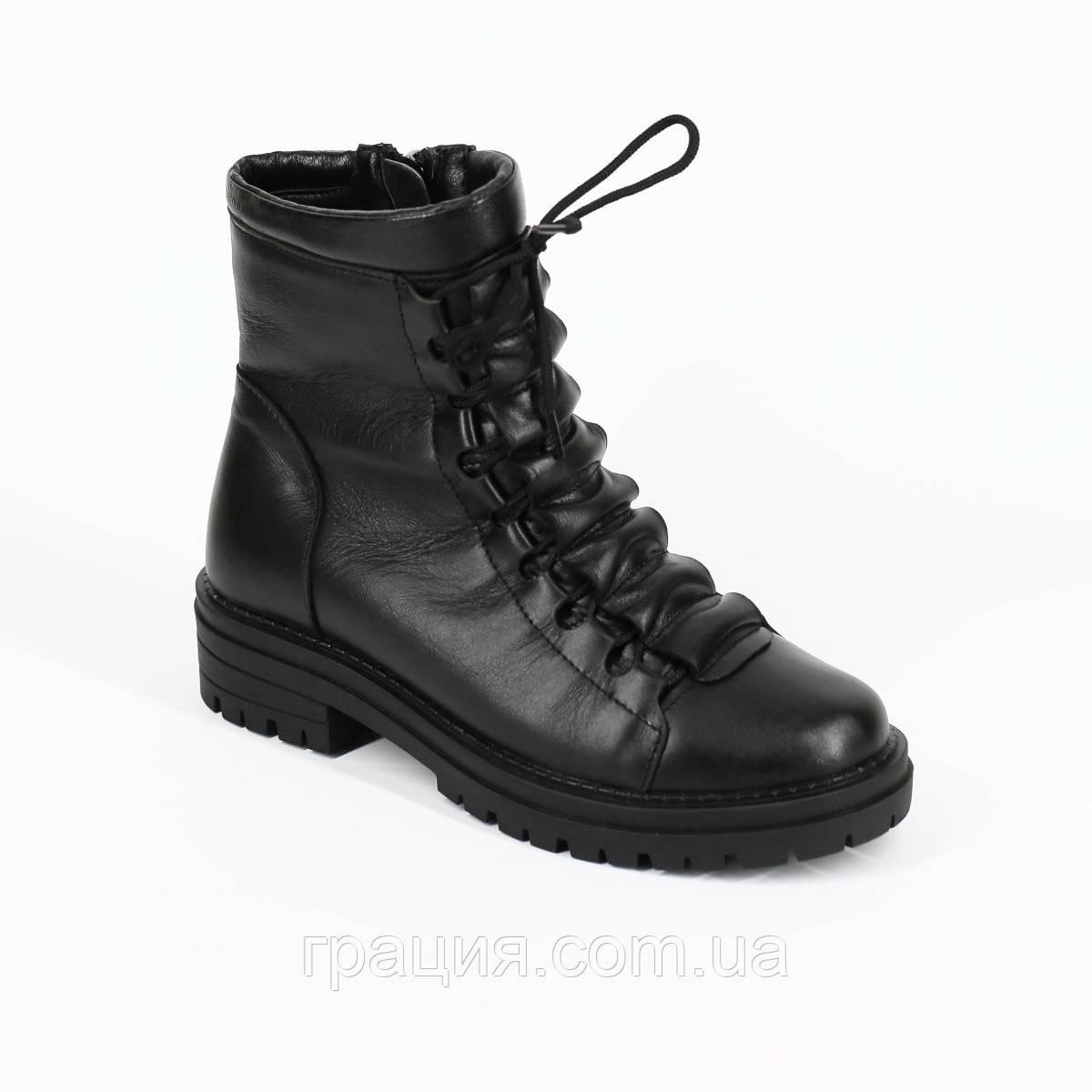 Модные женские кожаные зимние ботинки