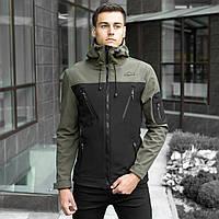 Мужская демисезонная куртка Pobedov Soft Shell «Korol Lev» хаки-черная