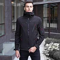 Мужская демисезонная куртка Pobedov Soft Shell «Korol Lev» черная