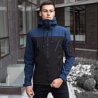 Мужская демисезонная куртка Pobedov Soft Shell «Korol Lev» сине-черная