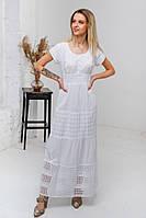 Легка літня біла довга батистова сукня з гаптованою вишивкою та мереживом №2838, фото 1