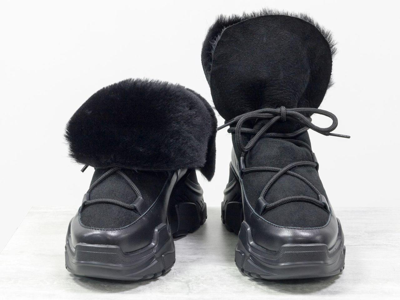 Ботинки из натуральной кожи черного цвета, замши и меха овечки, на современной высокой платформе