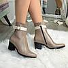 Женские кожаные ботинки на каблуке, цвет визон/беж, фото 2