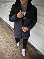 """Куртка осенняя мужская """"Fusion"""" бренда Intruder Демисезонная весенняя (серая - черная)"""