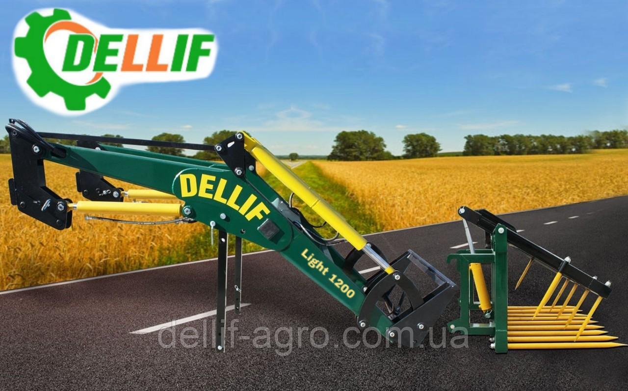 Погрузчик МТЗ КУН Dellif Light 1200 стационарный с сенажными вилами со съемным зубом