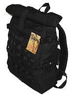 Роллтоп, городской рюкзак Милитари 30 литров Черный Rolltop