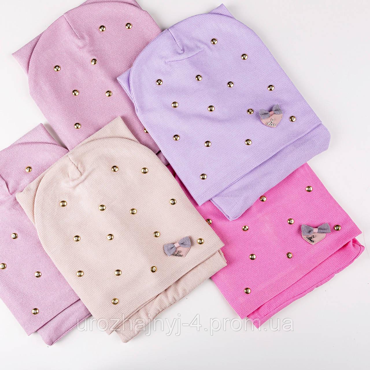 Трикотажный комплект для девочки шапка и хомут  подкладка х/б р50-52 5шт упаковка