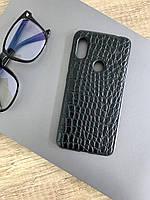 Чехол для Xiaomi Redmi Note 6 под кожу крокодила, Black