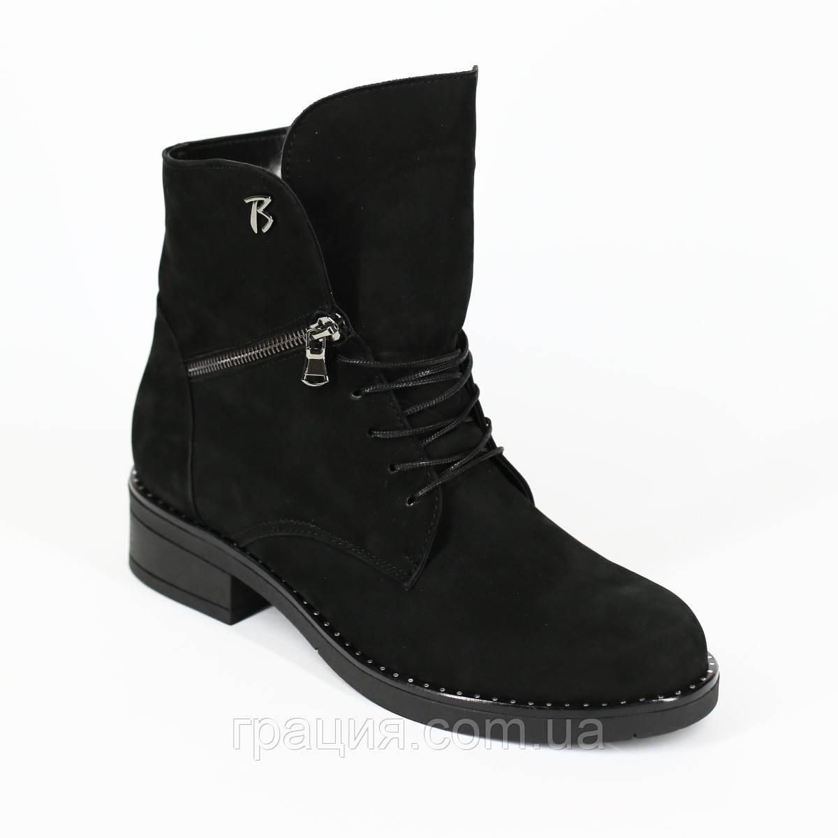Стильные молодежные зимние ботинки замшевые