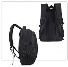Рюкзак мужской вместительный из нейлона черный с отделом для ноутбука 15.6 (1115931625), фото 2