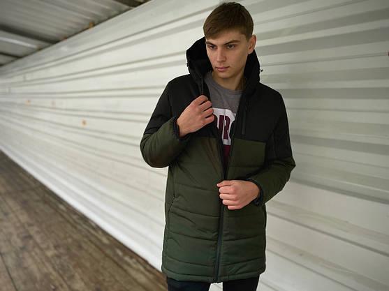 """Куртка осенняя мужская """"Fusion"""" бренда Intruder Демисезонная весенняя (хаки - черная), фото 2"""