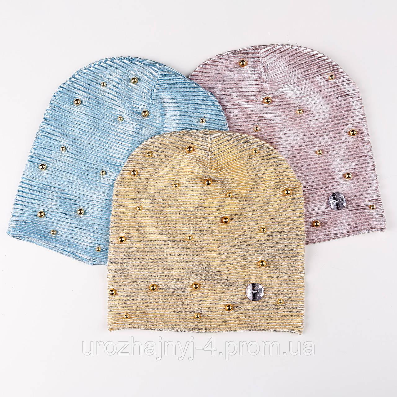 Трикотажная шапка весна для девочки подкладка х/б р48-50 упаковка 5шт