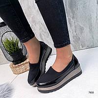 Женские чёрные туфли на платформе FS