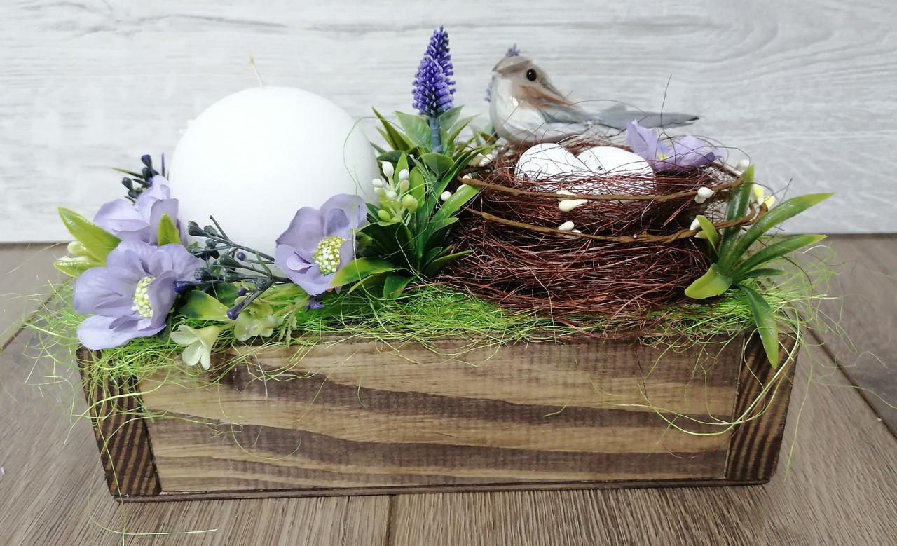 Пасхальна композиція Волинські візерунки в дерев'яному кашпо (фіолетова)