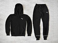 Мужской спортивный костюм Puma черный , толстовка маленькая эмблема, штаны реплика